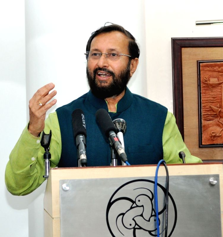 Union Minister for Human Resource Development Prakash Javadekar addresses during the inauguration of the National Conference on Innovations (Navonmesh) in School Education in New Delhi on ...