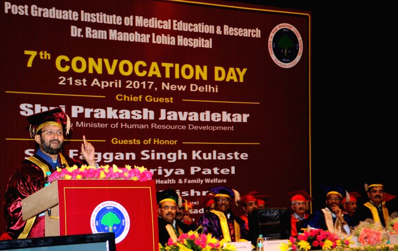 Union Minister for Human Resource Development Prakash Javadekar addresses at the 7th convocation ceremony of the Post Graduate Institute of Medical Education and Research (PGIMER) Dr. Ram ...