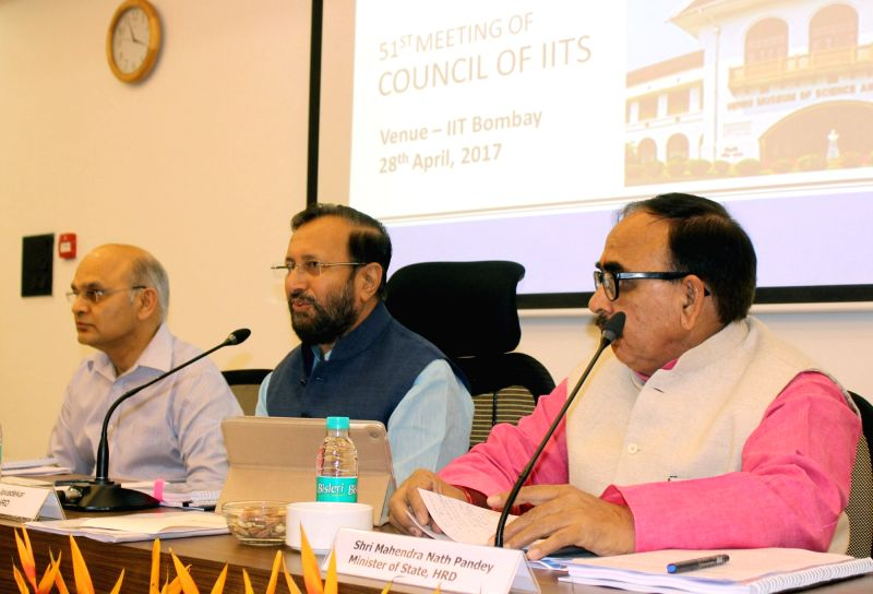 Union Minister for Human Resource Development Prakash Javadekar chairs the 51st Meeting of the Council of IITS in Mumbai on April 28, 2017. Also seen Minister of State for Human Resource ... - Mahendra Nath Pandey