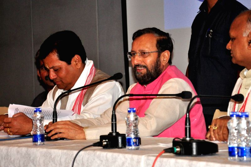 Union Minister for Human Resource Development Prakash Javadekar addresses at the Regional Workshop for North Eastern Region on Innovations and best practices in School Education in Guwahati ... - Sarbananda Sonowal