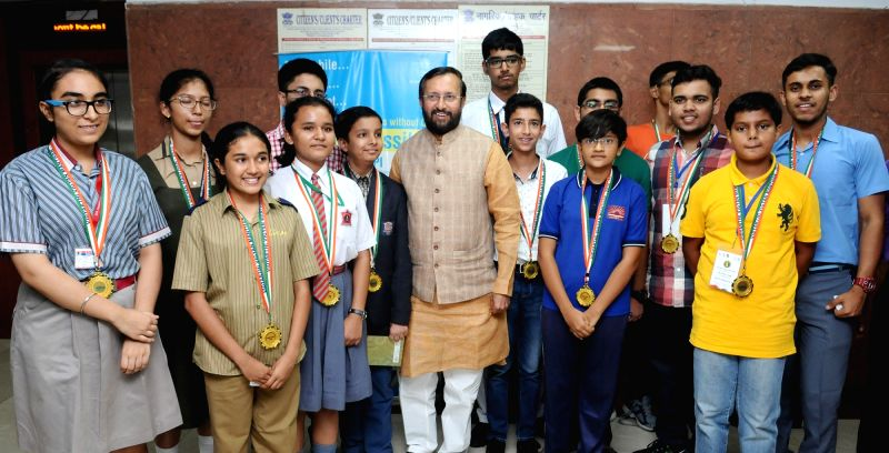 Union Minister for Human Resource Development Prakash Javadekar with the award winners of National Science Talents-2017 during a felicitation programme in New Delhi on June 14, 2017.