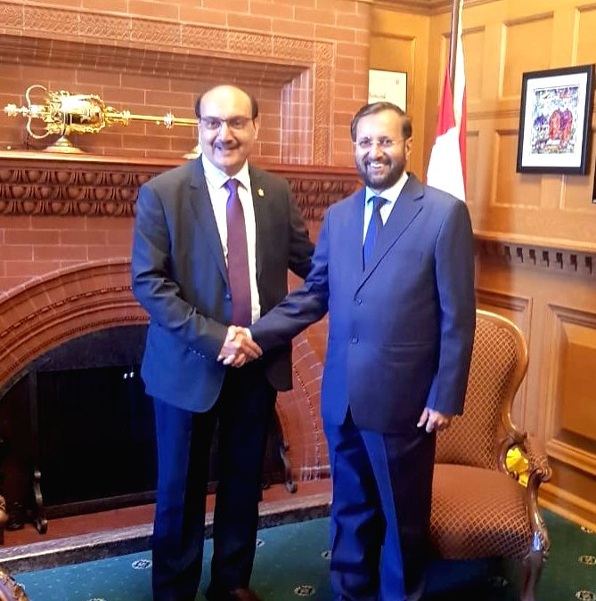 Union Minister for Human Resource Development Prakash Javadekar meets the Deputy Speaker of the Assembly of British Columbia Raj Chouhan to promote cooperation with British Columbia in ...