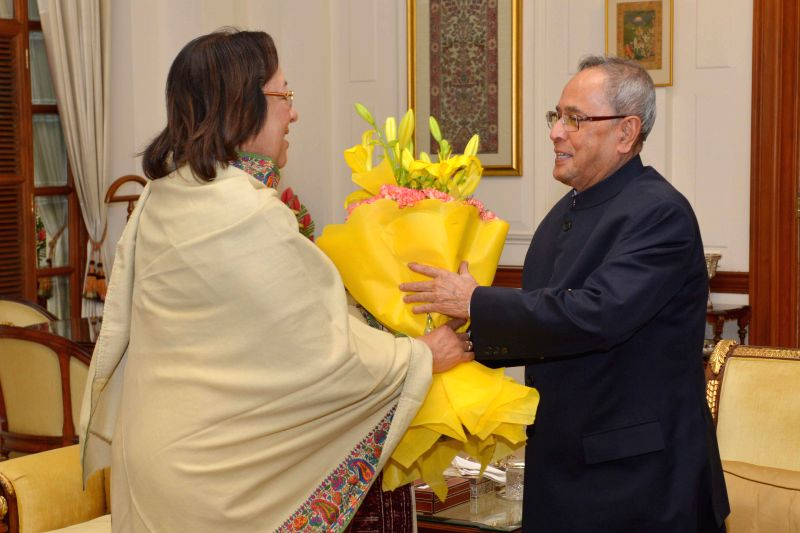 Union Minister for Minority Affairs Dr. Najma Heptulla calls on President Pranab Mukherjee to greet him on his 78th birthday at Rashtrapati Bhavan in New Delhi, on Dec 11, 2014. - Pranab Mukherjee