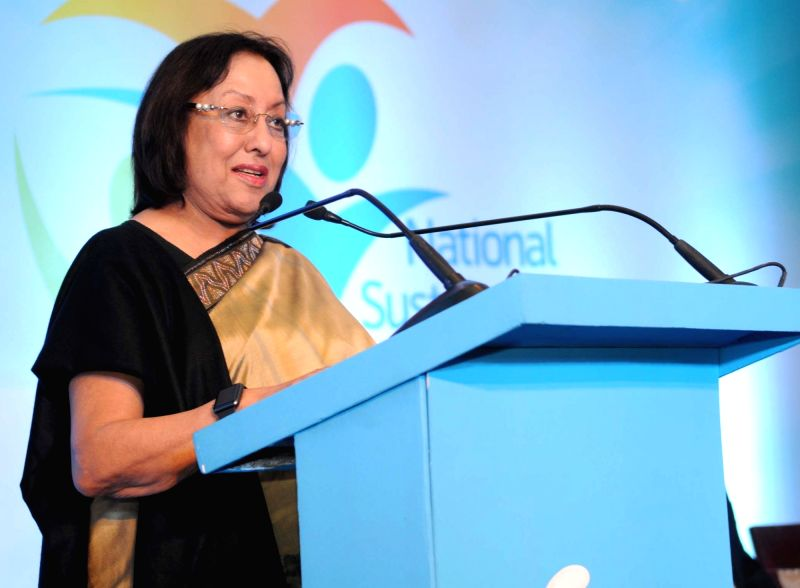 Union Minister for Minority Affairs, Dr. Najma A. Heptulla addresses at the National Sustainability Conference of Telenor, in New Delhi on Dec 11, 2015. - Najma A. Heptulla