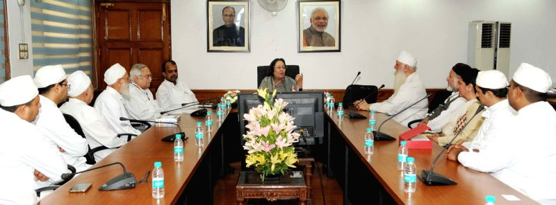 Union Minister for Minority Affairs, Dr. Najma A Heptulla meets a group of Parsis including their head priests, in New Delhi, on May 20, 2016.
