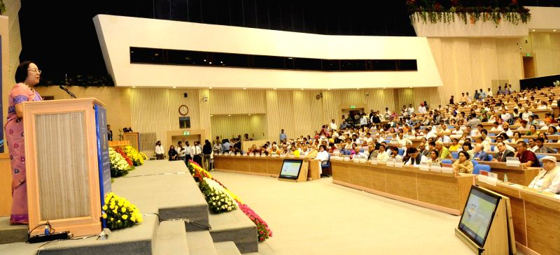 "Union Minister for Minority Affairs, Dr. Najma A Heptulla addresses during a programme on the ""Achievement of the Ministry of Minority Affairs"", in New Delhi on May 28, 2016."
