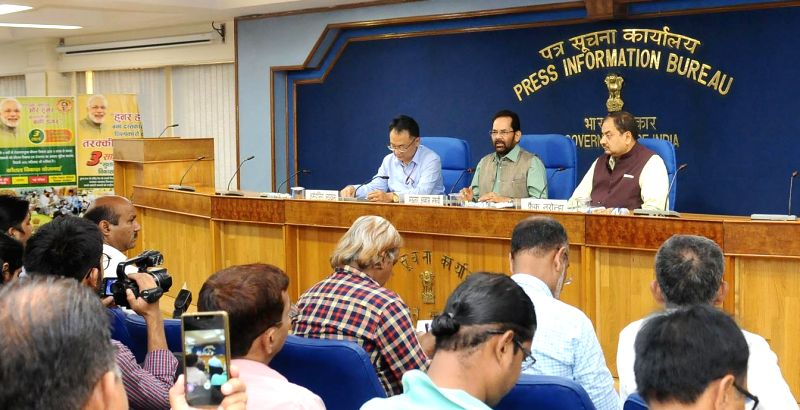 Union Minister for Minority Affairs Mukhtar Abbas Naqvi addresses a press conference on achievements of Ministry of Minority Affairs during three years of  NDA Government in New Delhi on ...