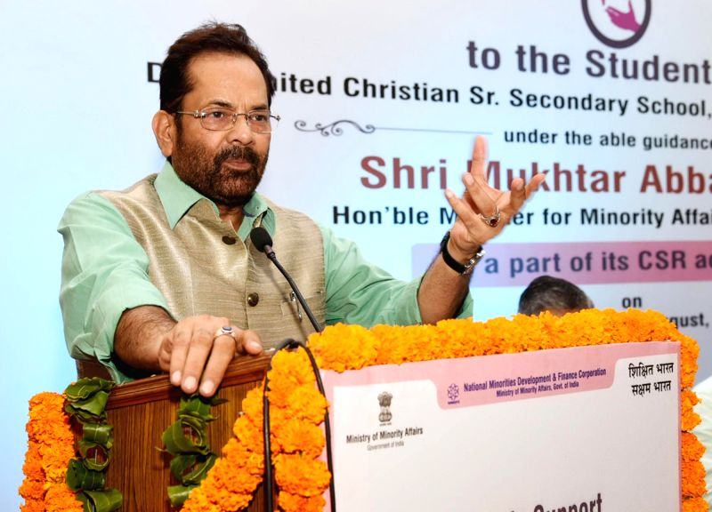 Union Minister for Minority Affairs Mukhtar Abbas Naqvi addresses after dedicating the Computer Centre at Delhi United Christian Senior Secondary School Raj Niwas Marg in New Delhi on Aug ...