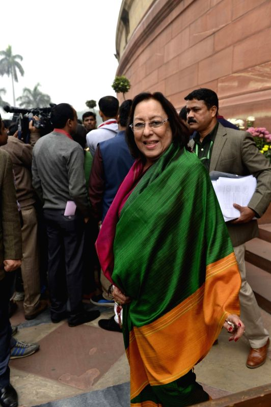 Union Minister for Minority Affairs Najma Heptulla at the Parliament in New Delhi, on Dec 9, 2015. - Najma Heptulla