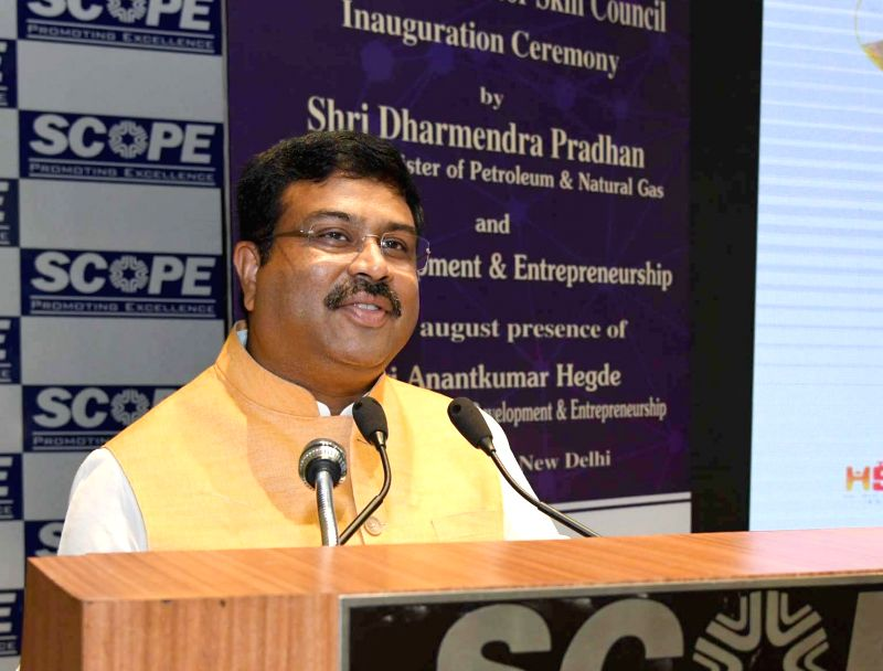 Union Minister for Petroleum & Natural Gas and Skill Development & Entrepreneurship Dharmendra Pradhan addresses at the inauguration of the office of the Hydro Carbon Sector Skill ...