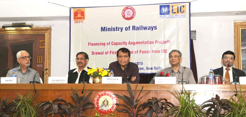 Union Minister for Railways  Suresh Prabhakar Prabhu addresses at the handing over function of the first cheque of Rs. 2000 crore by the Life Insurance Corporation (LIC) to the Railway PSU ... - Suresh Prabhakar Prabhu