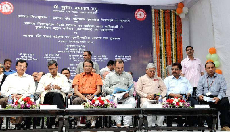 Union Minister for Railways Suresh Prabhakar Prabhu at the flag-off ceremony of the India`s first semi-high speed train christened as 'Gatimaan Express', between H. Nizammuddin station ... - Suresh Prabhakar Prabhu
