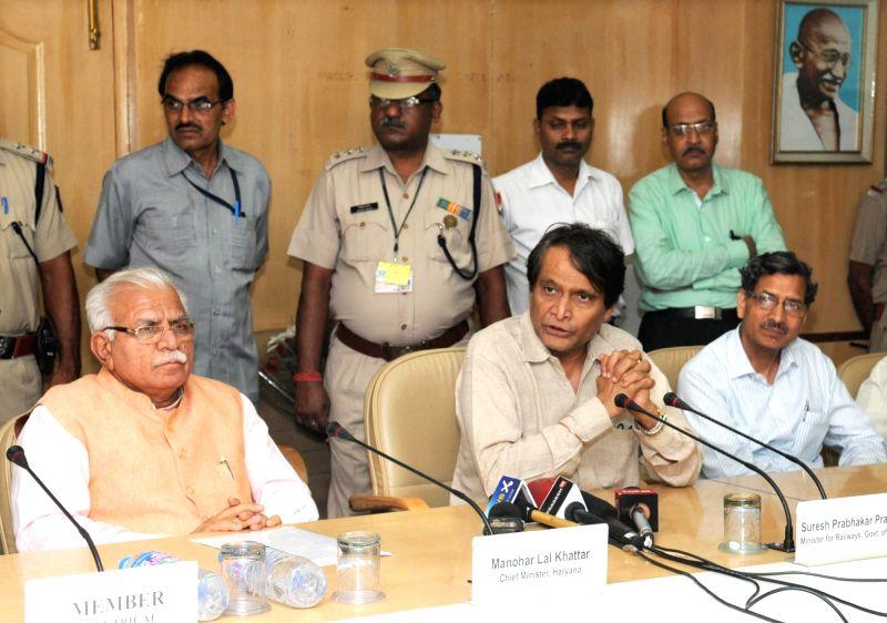 Union Minister for Railways Suresh Prabhakar Prabhu addresses at the signing ceremony of a Memorandum of Understanding (MoU) between the Ministry of Railways and Government of Haryana for ... - Suresh Prabhakar Prabhu
