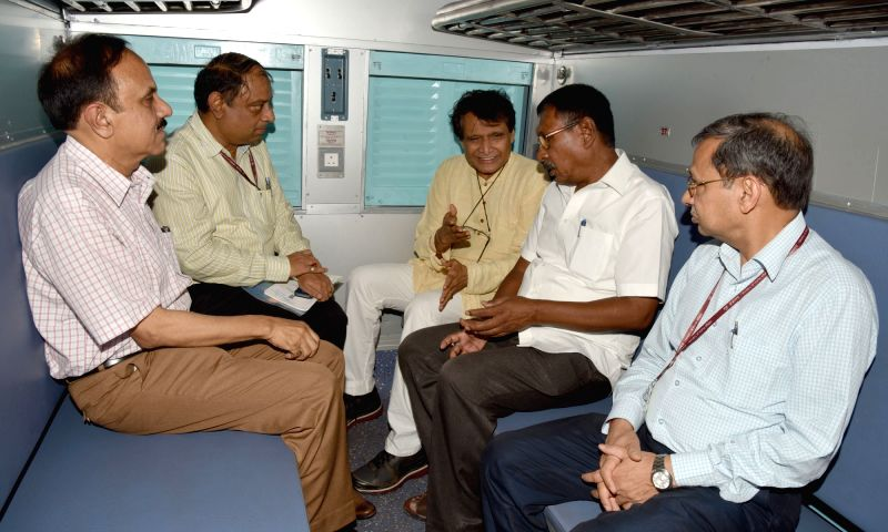 Union Minister for Railways Suresh Prabhu inspects the newly developed Deendayalu Coach, at New Delhi Railway Station on July 19, 2016. Also seen the Minister of State for Railways Rajen ... - Suresh Prabhu