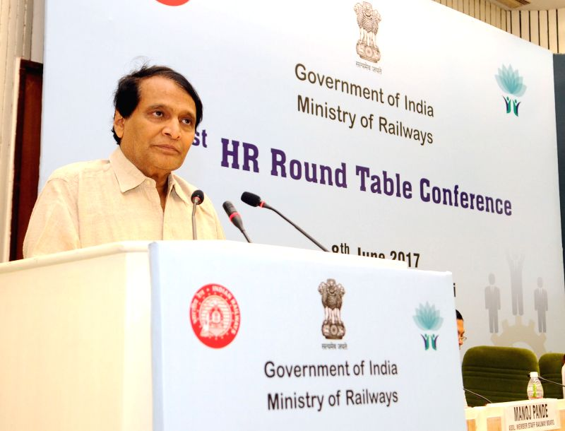 Union Minister for Railways Suresh Prabhu addresses at the Indian Railways' 1st HR round table conference in New Delhi on June 8, 2017. - Suresh Prabhu