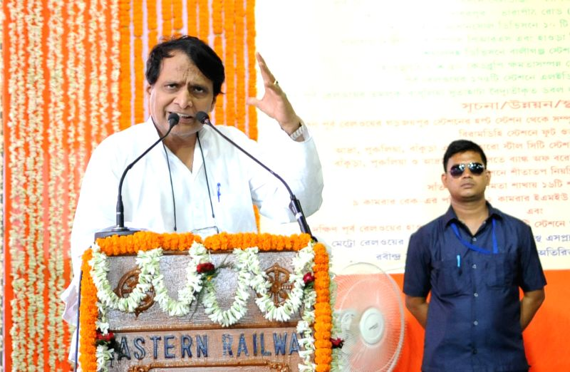 Union Minister for Railways Suresh Prabhu addresses during the inaugration of Railway projects and passenger amenities in Howrah station on June 10, 2017. - Suresh Prabhu