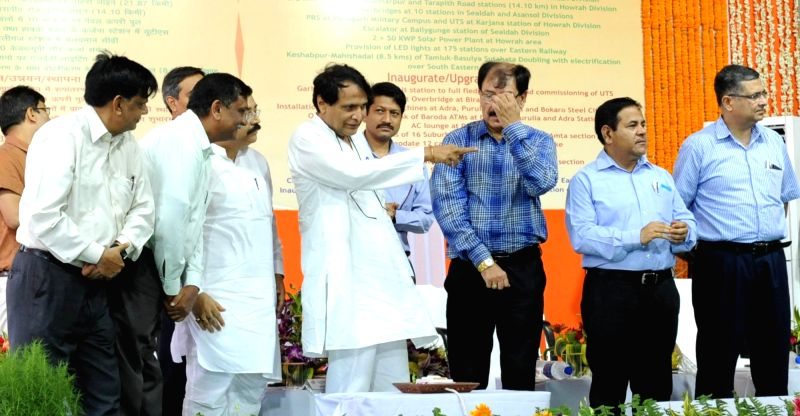 Union Minister for Railways Suresh Prabhu inaugrates a number of Railway projects and passenger amenities in Howrah station on June 10, 2017. - Suresh Prabhu