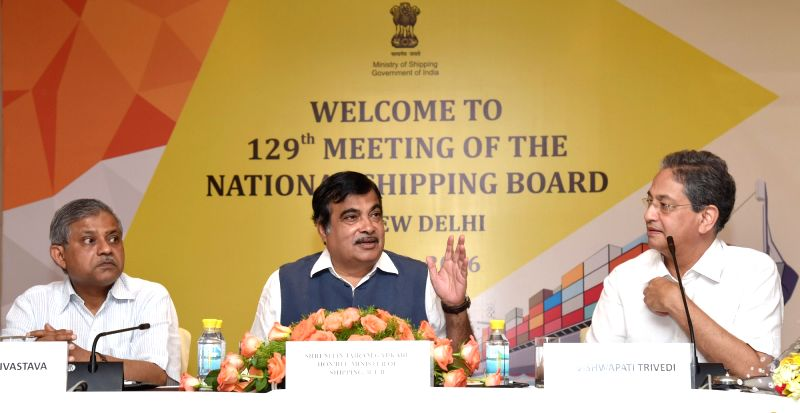 Union Minister for Road Transport & Highways and Shipping Nitin Gadkari addresses at the 129th meeting of the National Shipping Board, in New Delhi on July 22, 2016.