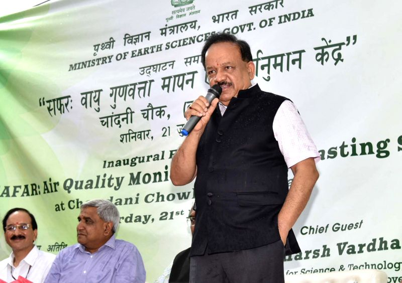 Union Minister for Science & Technology, Earth Sciences and Environment, Forest & Climate Change, Dr. Harsh Vardhan addresses at the inauguration of the SAFAR: Air Quality ...