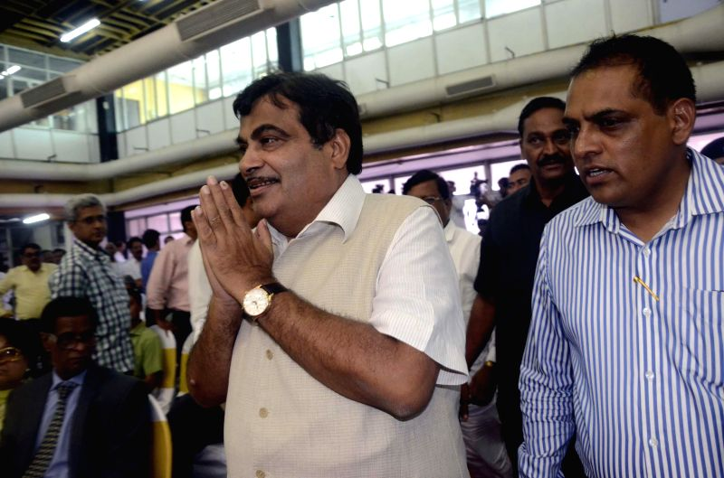 Union Minister for Shipping, and Road Transport and Highways Nitin Gadkari arrives to attend a programme organised on 142nd Foundation Day of Mumbai Port Trust in Mumbai on June 26, 2014.