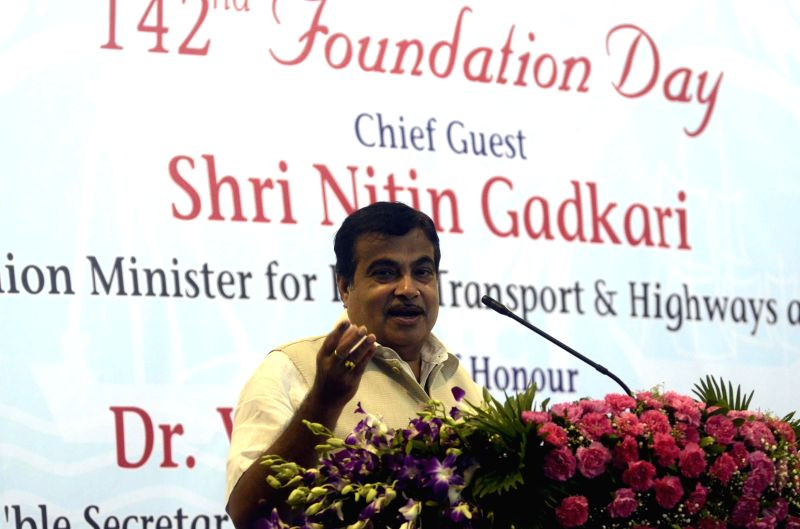 Union Minister for Shipping, and Road Transport and Highways Nitin Gadkari addresses during a programme organised on 142nd Foundation Day of Mumbai Port Trust in Mumbai on June 26, 2014.