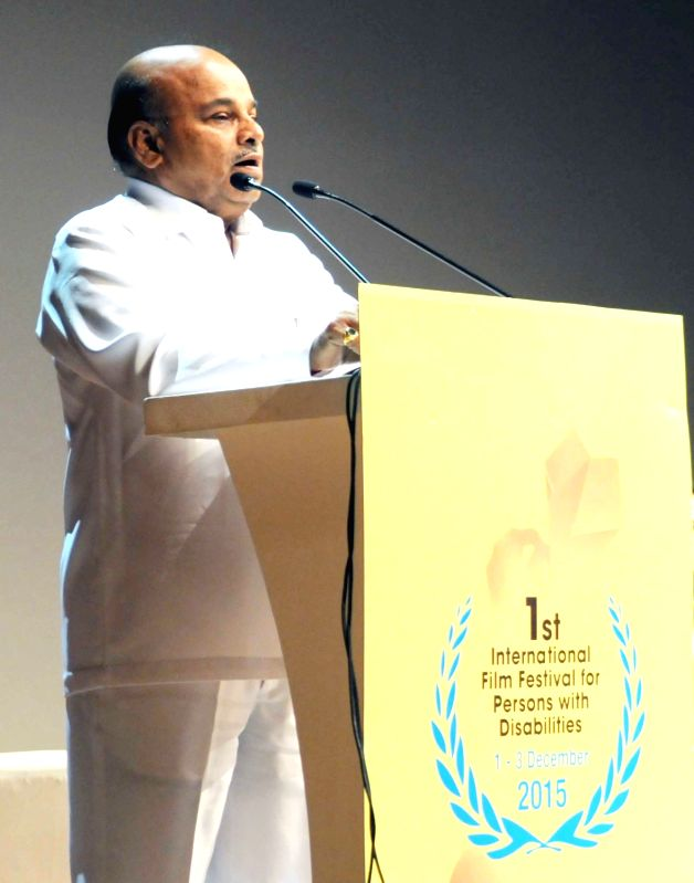 Union Minister for Social Justice and Empowerment Thaawar Chand Gehlot addresses at the closing ceremony of the 1st International Film Festival for Persons with Disabilities, in New Delhi ...