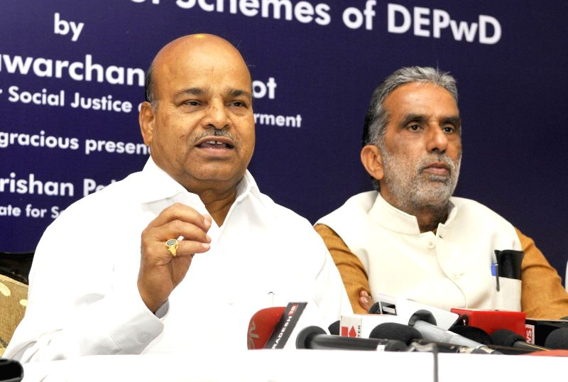 Union Minister for Social Justice and Empowerment Thaawar Chand Gehlot addresses a press conference after the felicitation programme of beneficiaries of schemes under DEPwD, in New Delhi ...