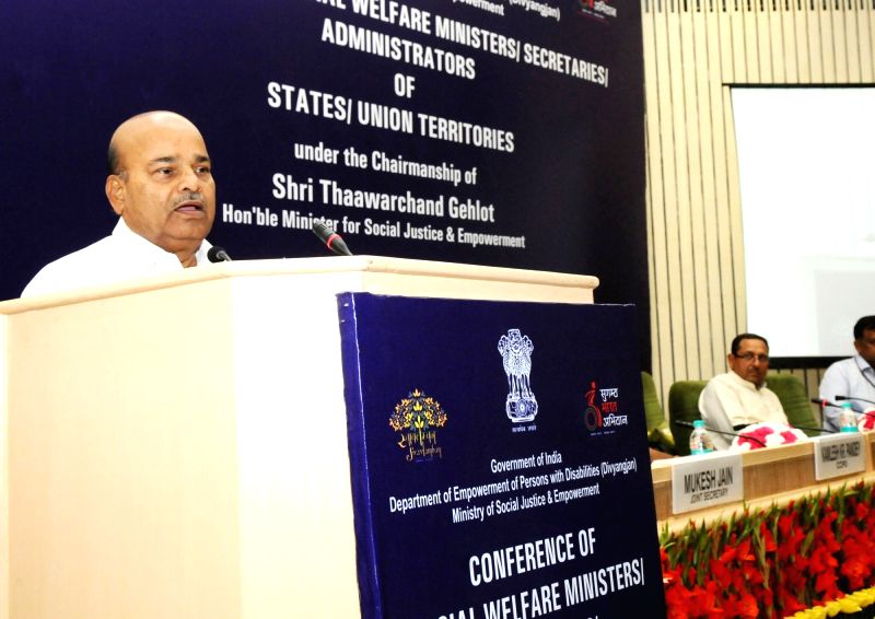 Union Minister for Social Justice and Empowerment Thaawar Chand Gehlot addresses at a conference regarding Disability Affairs, in New Delhi on June 2, 2016.