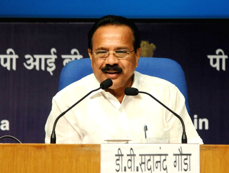 Union Minister for Statistics and Programme Implementation DV Sadananda Gowda addresses a press conference on the achievements of his ministry during 3 years of NDA Government in New Delhi ...