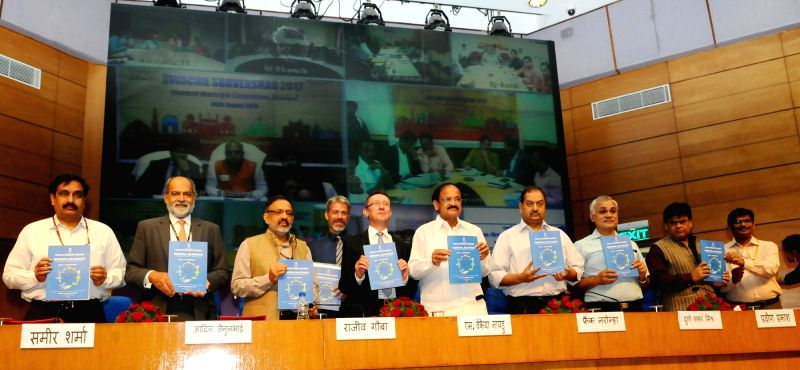 Union Minister for Urban Development, Housing & Urban Poverty Alleviation and Information & Broadcasting M Venkaiah Naidu release the municipal solid waste management manual for ... - M Venkaiah Naidu