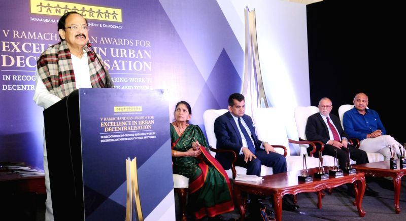 Union Minister for Urban Development, Housing & Urban Poverty Alleviation and Information & Broadcasting M Venkaiah Naidu addresses at the presentation ceremony of V Ramachandran ... - M Venkaiah Naidu
