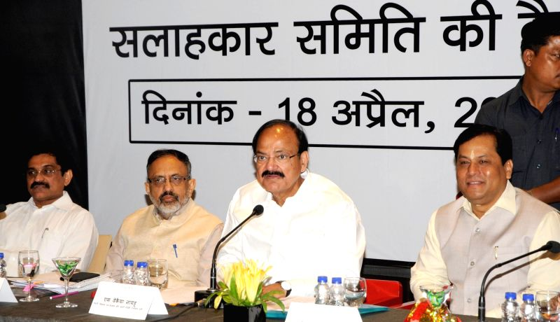Union Minister for Urban Development, Housing & Urban Poverty Alleviation and Information & Broadcasting M Venkaiah Naidu addresses at the Joint Hindi Advisory Committee (Hindi ... - Sarbananda Sonowal and M Venkaiah Naidu