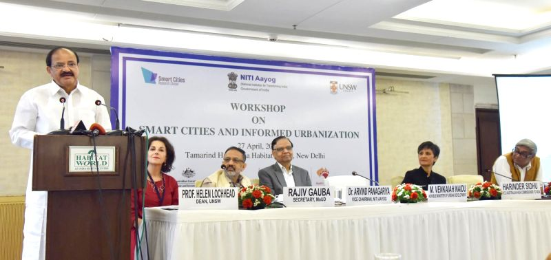 Union Minister for Urban Development, Housing & Urban Poverty Alleviation and Information & Broadcasting M Venkaiah Naidu addresses at the workshop on Smart Cities and Informed ... - M Venkaiah Naidu