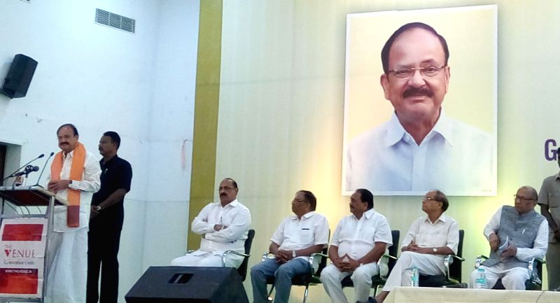 "Union Minister for Urban Development, Housing & Urban Poverty Alleviation and Information & Broadcasting M Venkaiah Naidu addresses at the ""MEET and GREET"" organised to ... - M Venkaiah Naidu"