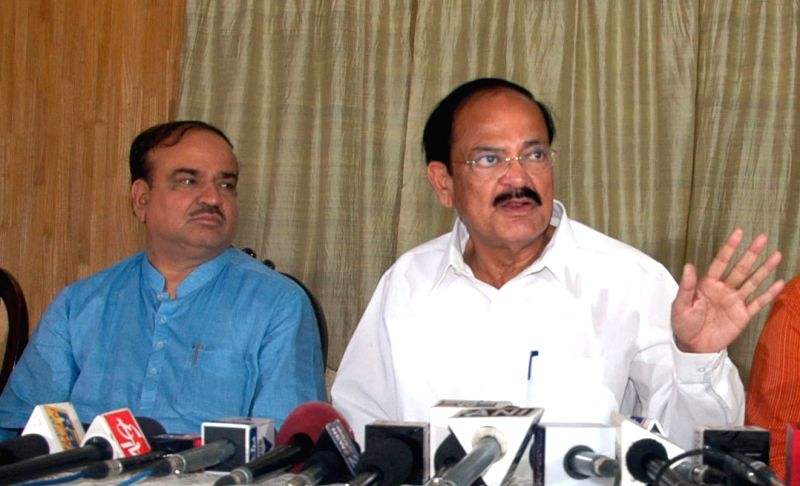 Union Minister for Urban Development, Housing and Urban Poverty Alleviation and Parliamentary Affairs M. Venkaiah Naidu and Union Chemicals and Fertilizer Minister Ananth Kumar during a press ... - M. Venkaiah Naidu