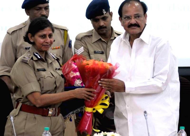 Union Minister for Urban Development, Housing and Urban Poverty Alleviation and Parliamentary Affairs M. Venkaiah Naidu with Director SVP National Police Academy Aruna M. Bahuguna at National Police . - M. Venkaiah Naidu