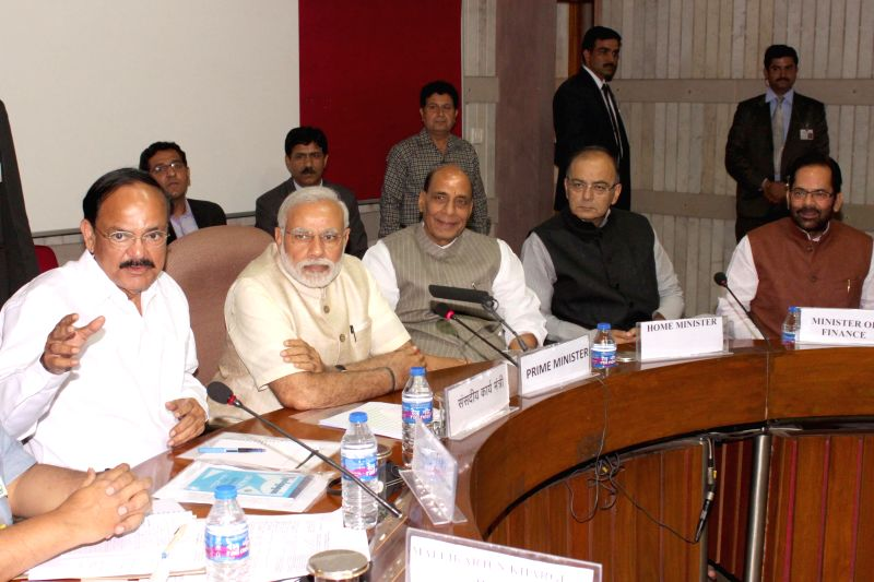 Union Minister for Urban Development, Housing and Urban Poverty Alleviation and Parliamentary Affairs M Venkaiah Naidu, Prime Minister Narendra Modi, Union Home Minister Rajnath Singh and the Union ... - Narendra Modi, Venkaiah Naidu and Rajnath Singh