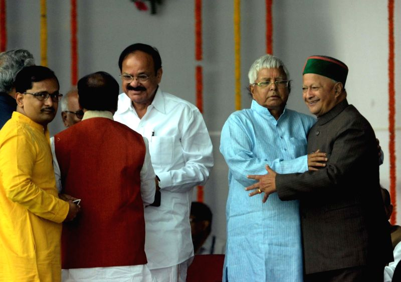 Union Minister for Urban Development, Housing and Urban Poverty Alleviation and Parliamentary Affairs M. Venkaiah Naidu, RJD chief Lalu Prasad Yadav and Himachal Chief Minister Vir Bhadra ... - Vir Bhadra Singh, M. Venkaiah Naidu and Lalu Prasad Yadav
