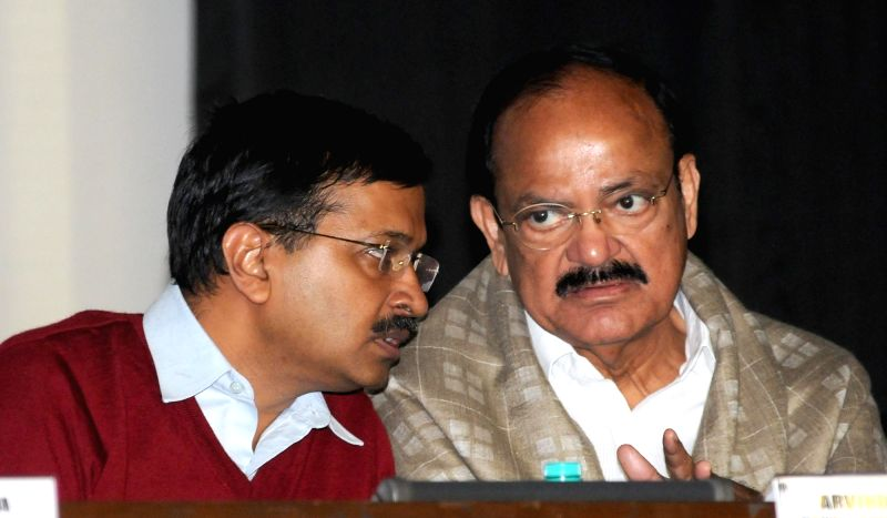 Union Minister for Urban Development, Housing and Urban Poverty Alleviation and Parliamentary Affairs M. Venkaiah Naidu and Delhi Chief Minister Arvind Kejriwal at the launch of ... - Arvind Kejriwal and M. Venkaiah Naidu