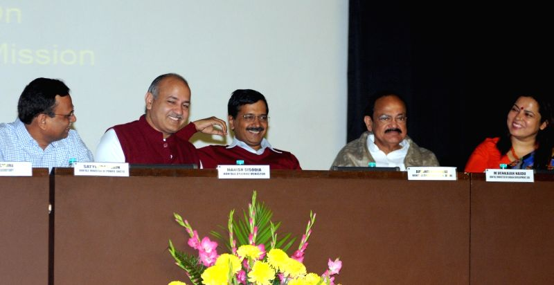 Union Minister for Urban Development, Housing and Urban Poverty Alleviation and Parliamentary Affairs M. Venkaiah Naidu, Delhi Chief Minister Arvind Kejriwal and Deputy Chief Minister ... - Arvind Kejriwal and M. Venkaiah Naidu