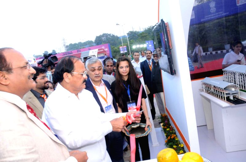Union Minister for Urban Development, Housing and Urban Poverty Alleviation and Parliamentary Affairs, M Venkaiah Naidu inaugurate an exhibition during the Urban Mobility India Conference, ...