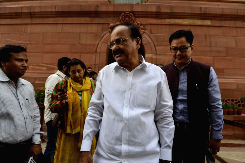 Union Minister for Urban Development, Housing and Urban Poverty Alleviation and Parliamentary Affairs M. Venkaiah Naidu after the Day-1 of the winter session of the Parliament in New Delhi, on Nov ... - M. Venkaiah Naidu