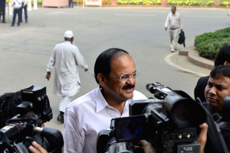 Union Minister for Urban Development, Housing and Urban Poverty Alleviation and Parliamentary Affairs M. Venkaiah Naidu arrives at the Parliament in New Delhi on Nov 30, 2015. - M. Venkaiah Naidu