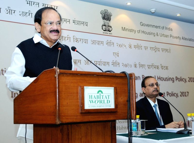 Union Minister for Urban Development, Housing and Urban Poverty Alleviation and Parliamentary Affairs, M Venkaiah Naidu addresses at the States/UTs on Draft National Rental Housing ... - M Venkaiah Naidu