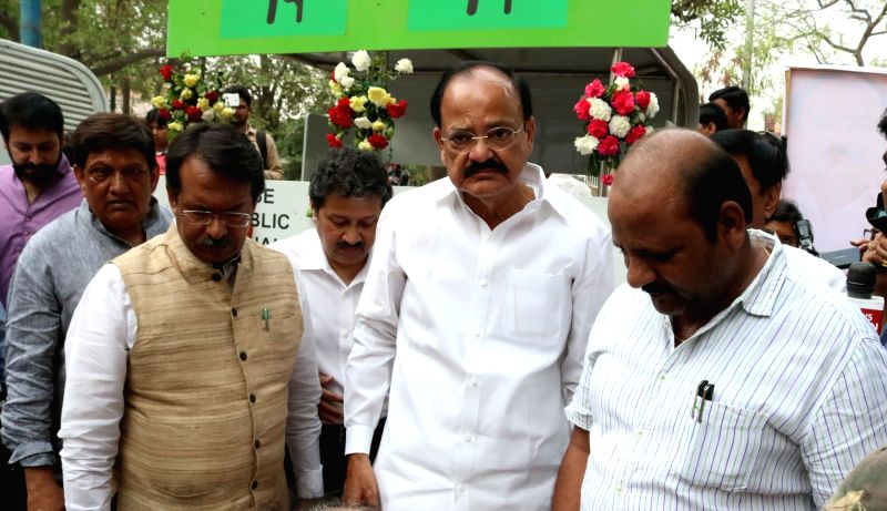 Union Minister for Urban Development, Housing and Urban Poverty Alleviation and Parliamentary Affairs M. Venkaiah Naidu during the inauguration of the modern 'Swachh Sauchalay' at Sikka ... - M. Venkaiah Naidu