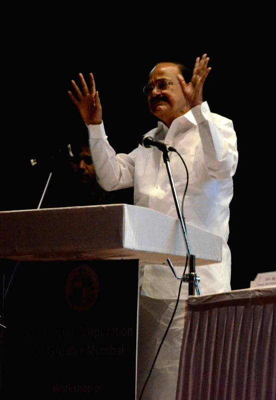 "Union Minister for Urban Development, Housing and Urban Poverty Alleviation and Parliamentary Affairs M Venkaiah Naidu addresses at a workshop on ""Ease of Doing Business in Construction ... - Venkaiah Naidu"