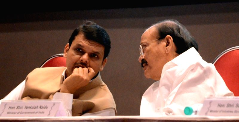 Union Minister for Urban Development, Housing and Urban Poverty Alleviation and Parliamentary Affairs M Venkaiah Naidu and Maharashtra Chief Minister Devendra Fadnavis at a workshop on ... - Devendra Fadnavis and Venkaiah Naidu