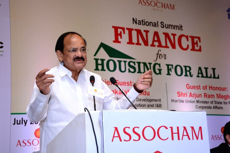 """Union Minister for Urban Development, Housing and Urban Poverty Alleviation and Information and Broadcasting, M Venkaiah Naidu addresses during at ASSOCHAM National Summit on """"Finance ... - M Venkaiah Naidu"""