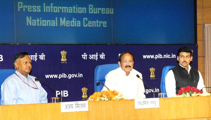 Union Minister for Urban Development, Housing and Urban Poverty Alleviation and Information and Broadcasting M Venkaiah Naidu addresses the senior officers of the Ministry of Information ... - M Venkaiah Naidu and Rajyavardhan Singh Rathore