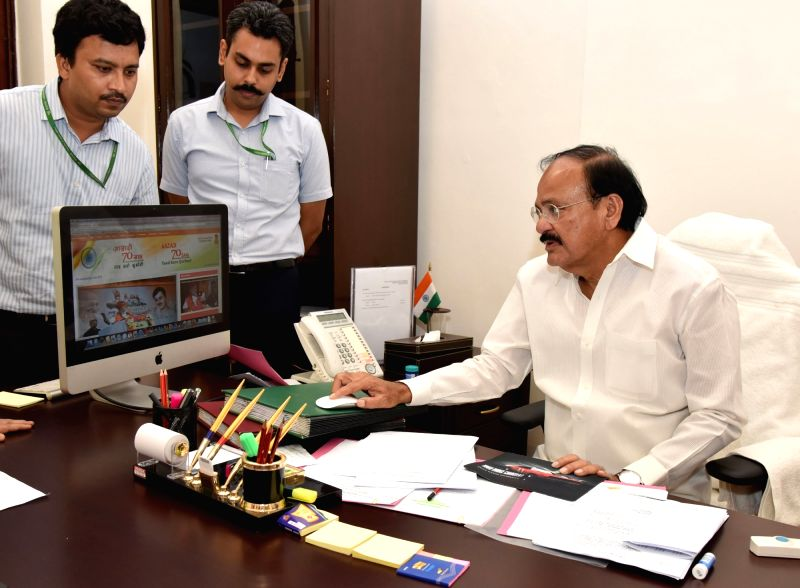 Union Minister for Urban Development, Housing and Urban Poverty Alleviation and Information and Broadcasting M Venkaiah Naidu launch the special webpage on the festival of Independence ... - M Venkaiah Naidu